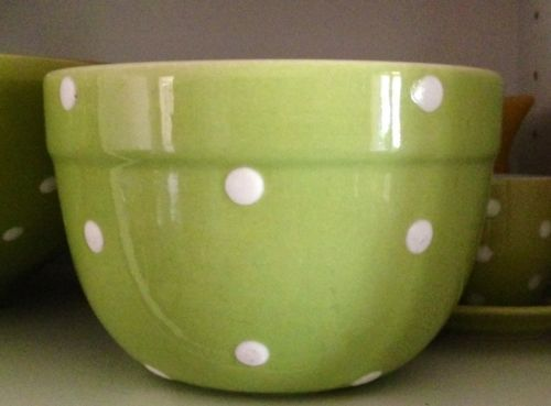 Vintage Retro Green Diana Pottery Polka Dot Mixing Bowl