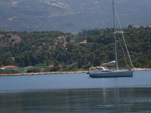 Exciting sea and exciting backround. Harboor of Argostoli,Kefalonia