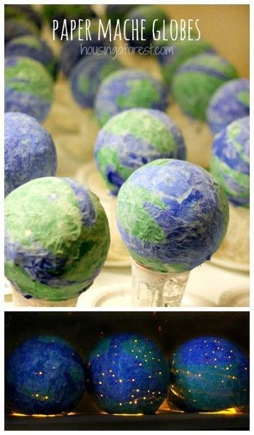 Earth Day Crafts for kids ~ Paper Mache Globes - April 24