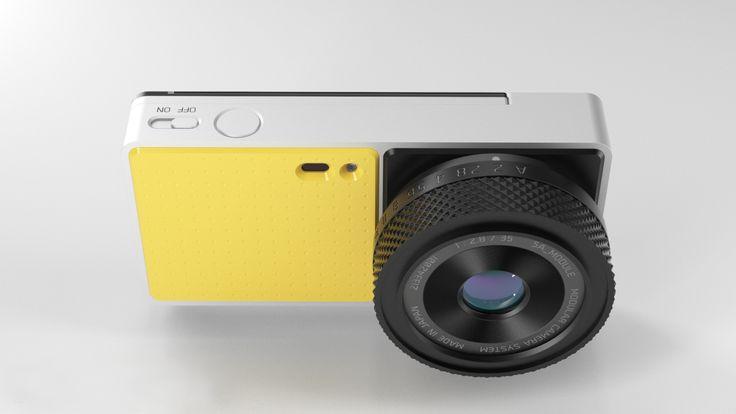 Camera concept by Tim Zarki detail bend camera yellow white handle layer