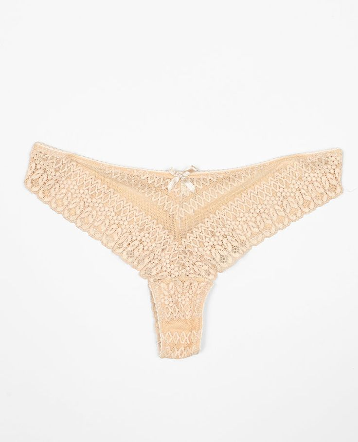 Tanga dentelle rose blush