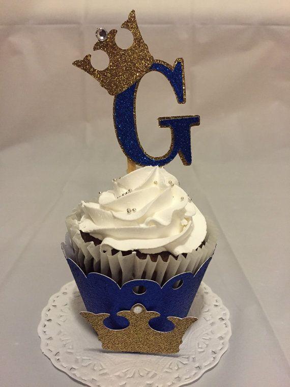 Toppers de cupcake inicial del príncipe
