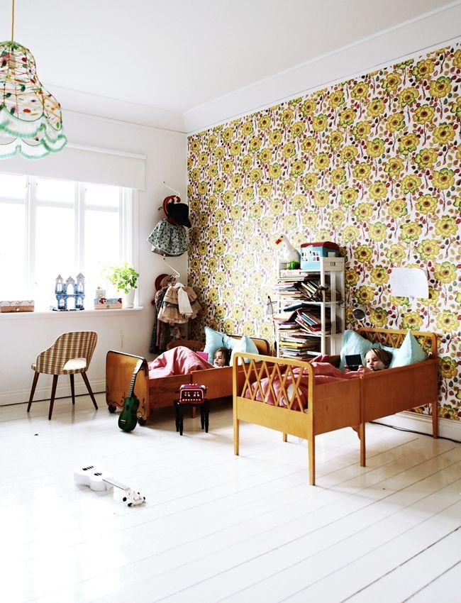 the boo and the boy: eclectic kids' rooms, I'm not a fan of the wallpaper, but those beds look soooo cozy.