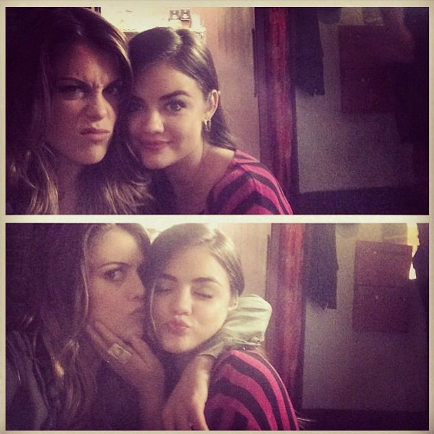 Lindsey Shaw (Paige) and Lucy Hale (Aria) on the set of Pretty Little Liars. #PLL