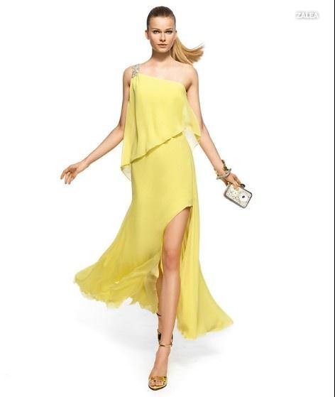 PRONOVIAS BARCELONA 2013 long collection prom dresses robe de soirée jaune 6