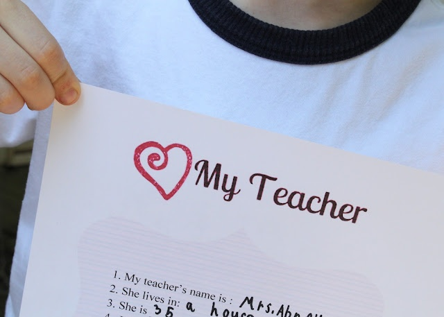 All About Your (child's) Teacher Questionnaire {with printable}. Great to give at the end of the year - so cute!