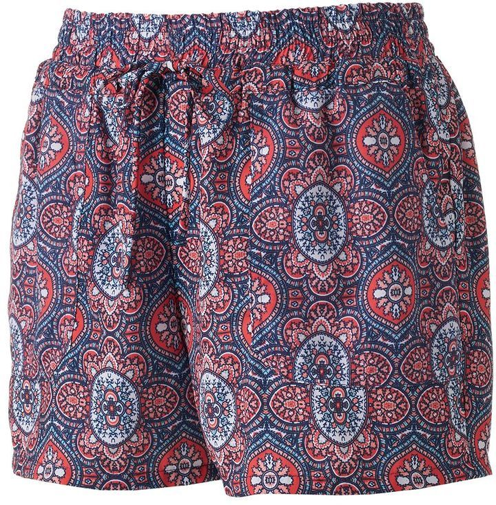 Juniors' Joe B Geometric Gauze Shortie Shorts