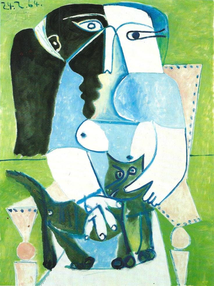 Femme au chat  dans un fauteuil -  woman with  cat  in  chair | Pablo Picasso 1964