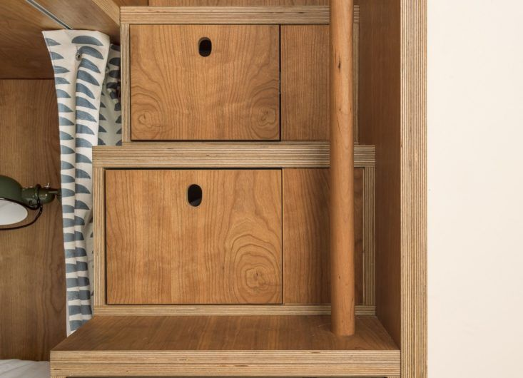 Stairs With Built-in Storage Drawers, Cherry Plywood Workstead design, Matthew Williams Photo