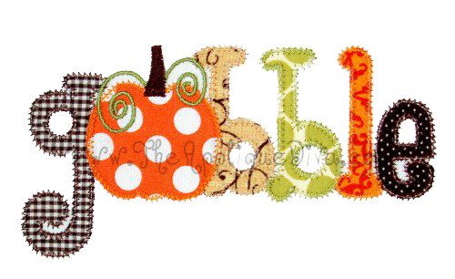 Thanksgiving Gobble Word Digital Embroidery Design Machine Applique