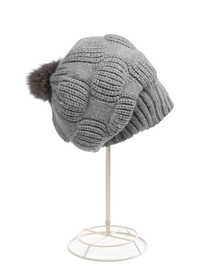 Brands | Scarves, Gloves & Hats | Slouchy Angora Blend Hat with Real Fox Fur | Hudson's Bay