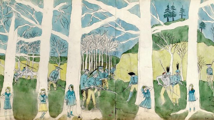 <i>Second Battle of McAllister Run they are pursued </i> (détail) d'Henry Darger. <i/>
