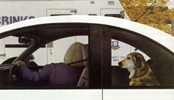 """Dog in Car"" by Alex Colville (b. 1920) via Bert Christensen's Cyberspace Home."