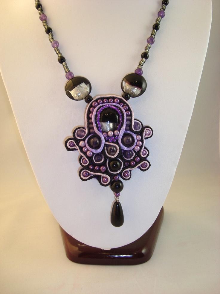 Adela Petcu_ Purple soutache necklace