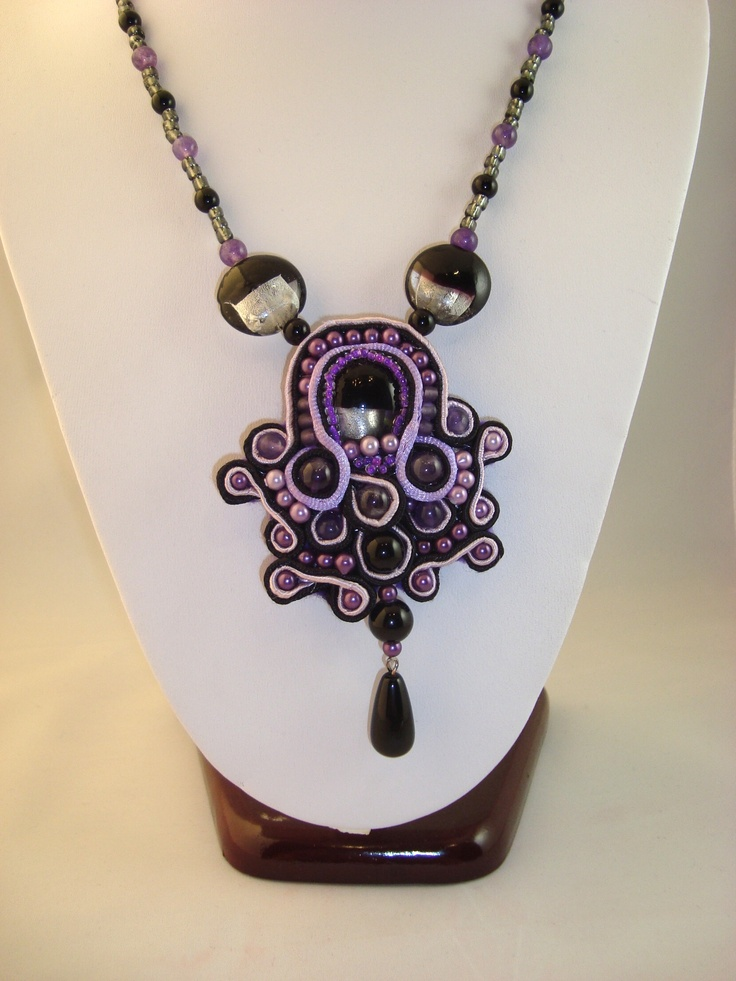 Adela Petcu_ Purple soutache necklace