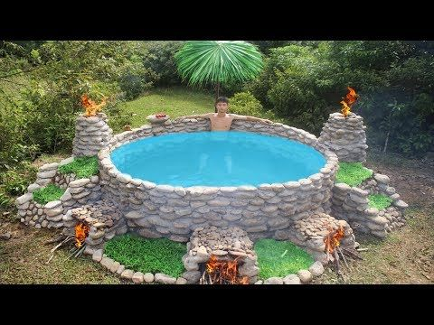 Build Big Heated Swimming Pool For The Winter Youtube Diy Swimming Pool Homemade Swimming Pools Outdoor Tub