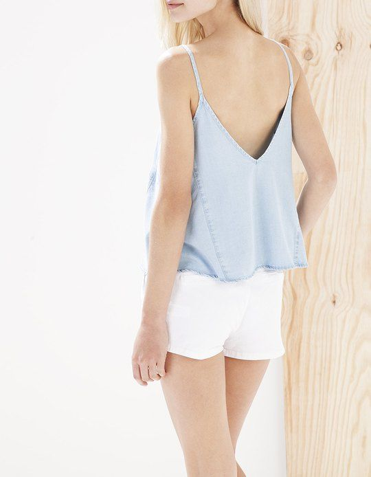 Denim top - TOPS - Stradivarius United Kingdom