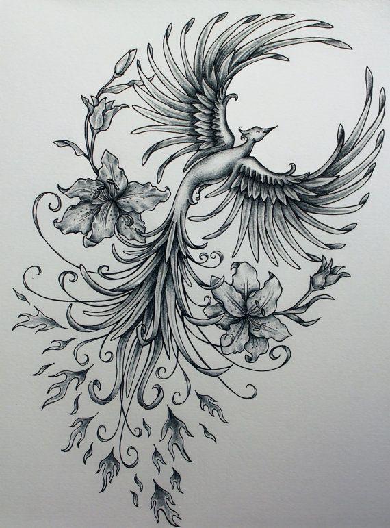Phoenix Rising Original Art Sample by jennifermckayhiggins on Etsy, $100.00