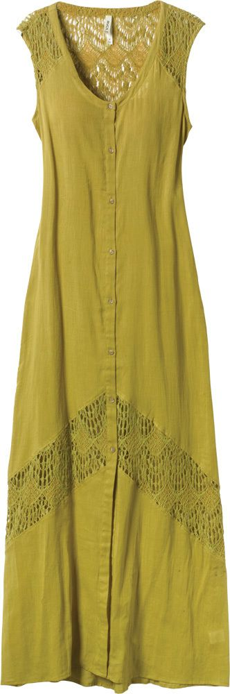 a sleeveless woven gauze and crochet maxi dress with buttons that stop 3/4 of the way down the center front.