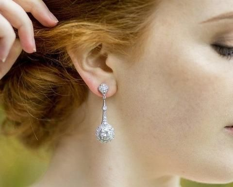 Drop Vintage Style Crystal Earrings, Clara -4
