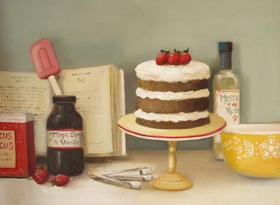 Love these vintage looking paintings in this Etsy shop.  How cute for the kitchen? The Magic Spice Cake- Art Print. $26.00, via Etsy.