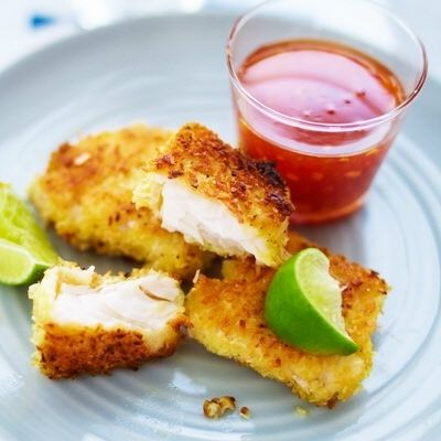 coconut batter cod with sweet chili sauce. (Serve with chicken and lime). Everyone loves it!