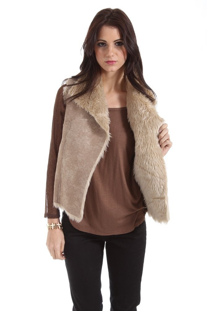 Potter's Pot Faux Leather and Fur Vest in Beige
