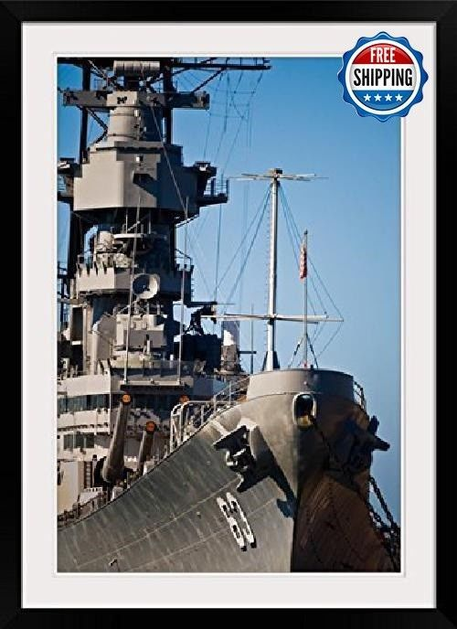 "Pearl Harbor Print USS Missouri, Honolulu, Oahu, Hawaii W Black Frame, 24"" x 36"" #greatBIGcanvas #Photo"