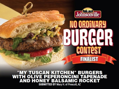 """""""'My Tuscan Kitchen' Burgers w/ Olive Peperoncini Tapenade & Honey Balsamic Rocket"""" made with Johnsonville Italian Sausage Patties by Mary H."""