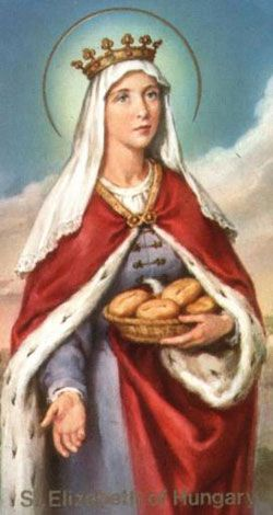 St. Elizabeth of Hungary s the patron saint of bakers, countesses, death of children, falsely accused, the homeless, nursing services, tertiaries, widows, and young brides. Her symbols are alms, flowers, bread, the poor, and a pitcher.