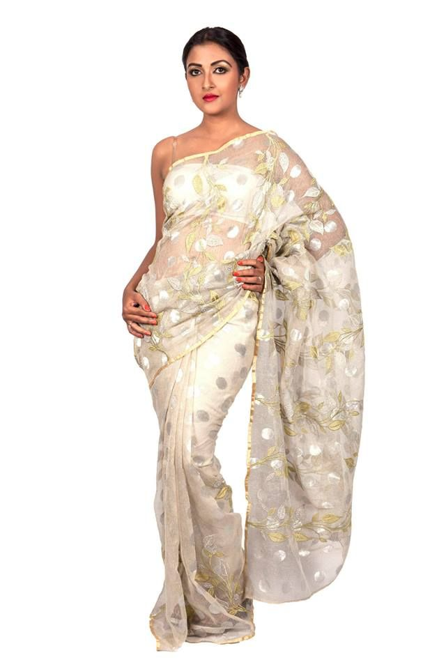 Jute Silk Silver Net Matte Festive/ Party Saree with Embroidered Falling Leaves in Silver & Pista Green. For Price and more information, visit http://shopping.threadturner.com/sarees #ThreadTurner