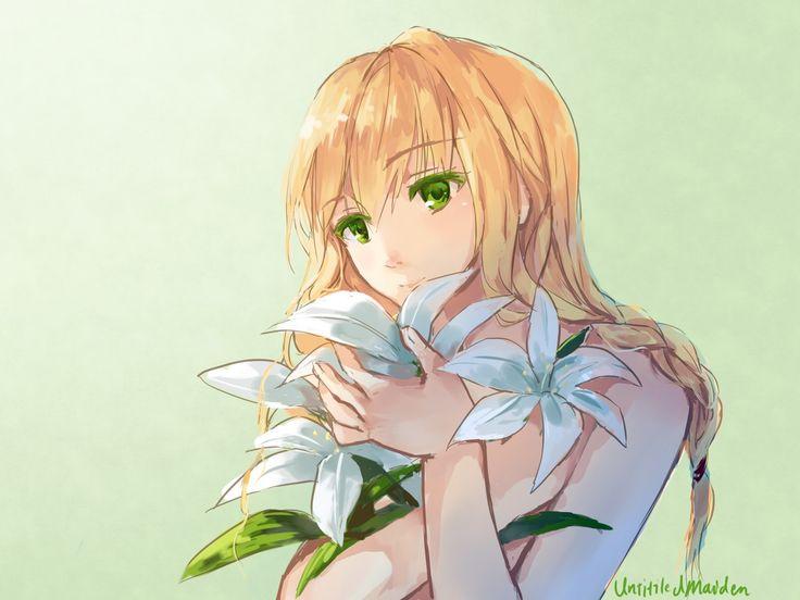 Anime 1600x1200 flowers anime girls blonde green eyes Majo No Ie anime