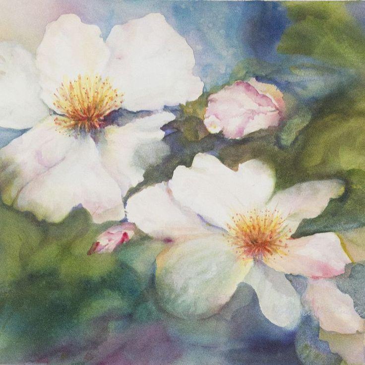 """Floating Sassanquas"" Original Watercolor. Second Place Award at Oakland Art Assn. show at John Muir Hospital, Walnut Creek, CA."