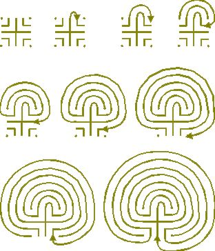[The Labyrinth Society: Directions to Make a Labyrinth using the Seed Pattern.] One you have the key, you will see labyrinths everywhere. #sarahlyn