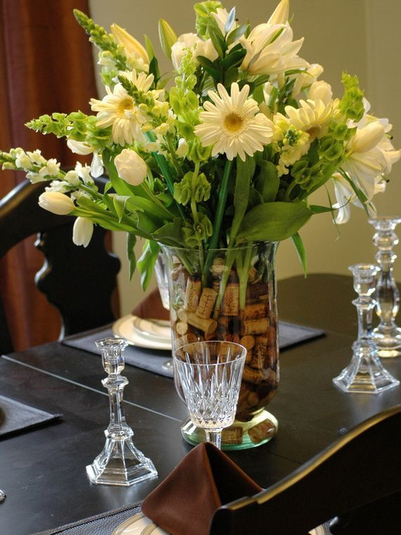 Nice Floral Centerpiece For Dining Room Table With Wine Corks