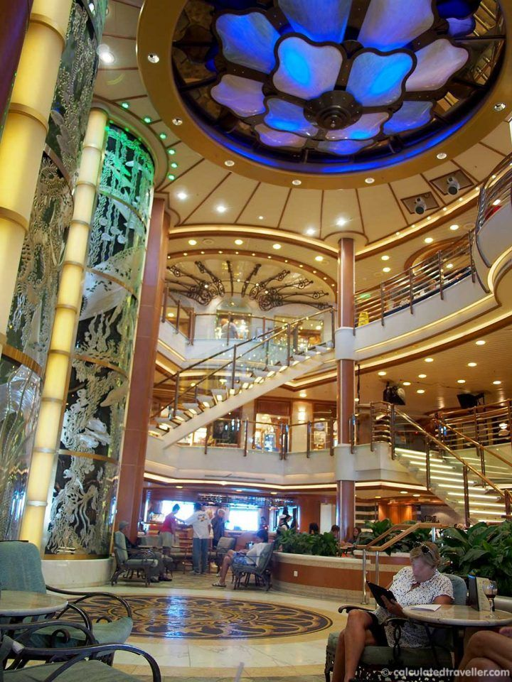 Princess Cruises - A Caribbean Princess Review by Calculated Traveller. This is the atrium - the hub of the ship for entertainment, shopping and food.:
