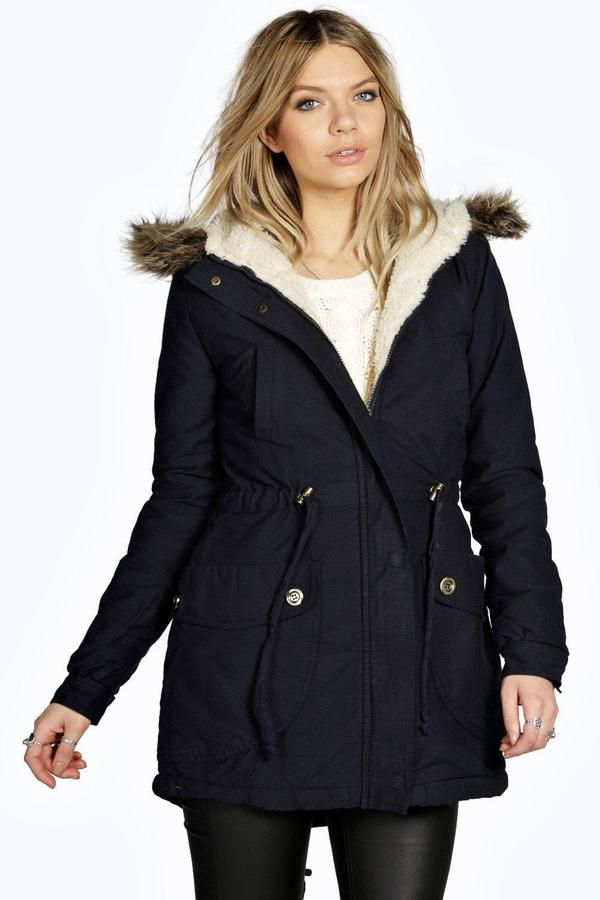 Emma Borg Lined Faux Fur Hood Parka