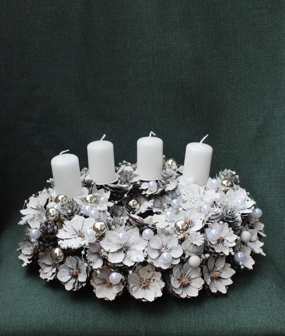White Glitter Advent Wreath Christmas Candle Holder Natural Christmas Wreath Table Centerpiece Holiday Decorations Christmas Decor Natural Christmas Wreaths Holiday Wreaths Christmas Christmas Wreaths