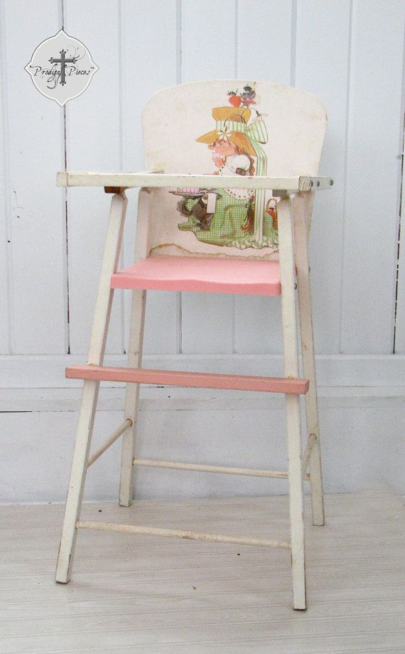 Sweet Vintage Wooden Baby Doll Highchair ~ Cute Shabby Chic Style! ~ $15