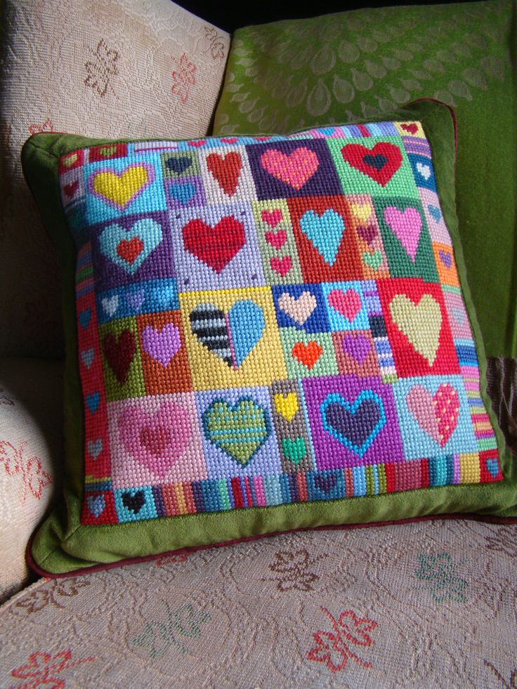 Happy Hearts tapestry. Colour printed canvas. Enjoy using up all your left over wools - we did with ours!