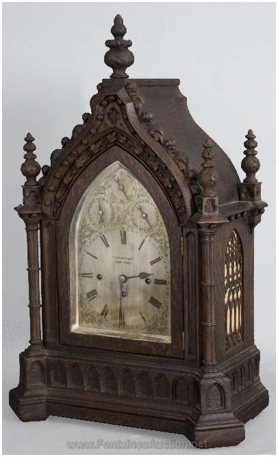 Oak Fussee Gothic Bracket Clock  (Tiffany & Co.)