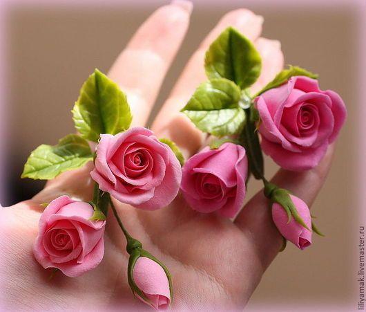 Свадебные украшения ручной работы. Ярмарка Мастеров - ручная работа. Купить Зажим с бутонами роз. Handmade. Розовые розы, невеста