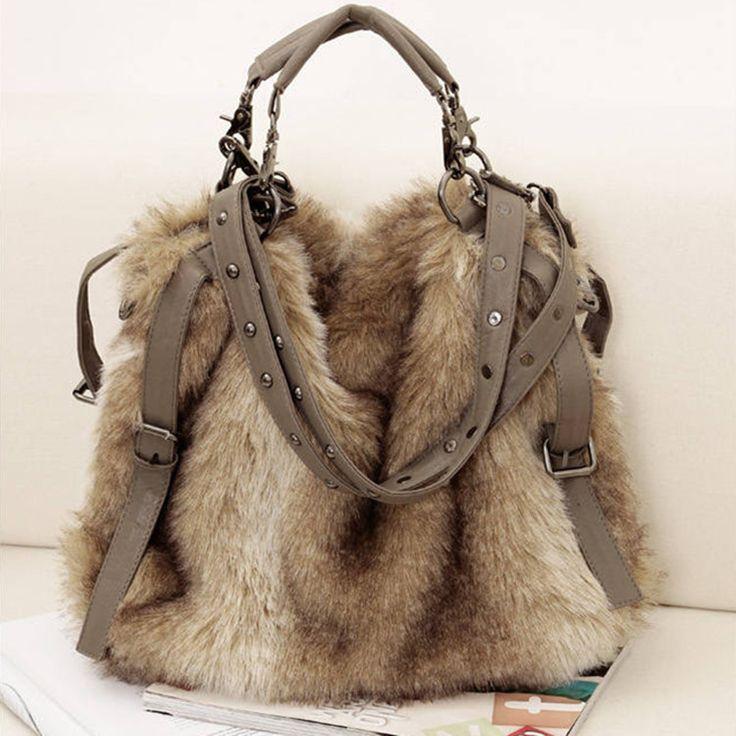 Livraison gratuite- femme sac à main en fausse fourrure sacs à bandoulière en velours croix.- sacs mortuaires