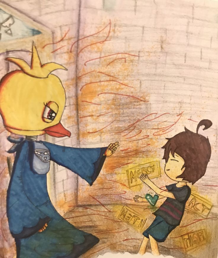 An old drawing of FNAFtale I made last year (2016).