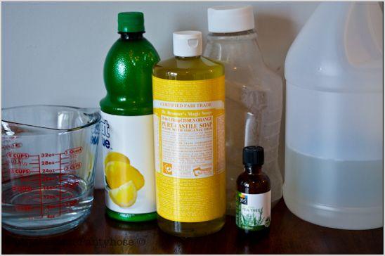 Organic dishwasher detergent. 4 c Liquid Castille Soap, 1 c white vinegar, 1 c water, 1 tbsp lemon juice and 1 tsp tea tree oil.