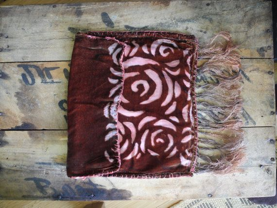 Maroon Devore Velvet Burnout Pouch / For Jewelry Or Lingerie Storage