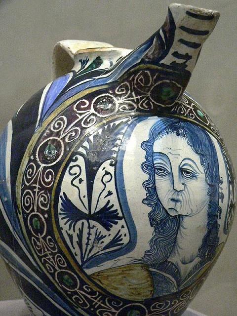 Italian tin-glazed earthenware jug with bust medallion 16th century.