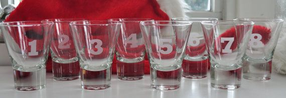 Set of Cocktail glasses etched with numbers 1 by Windyhillbarn