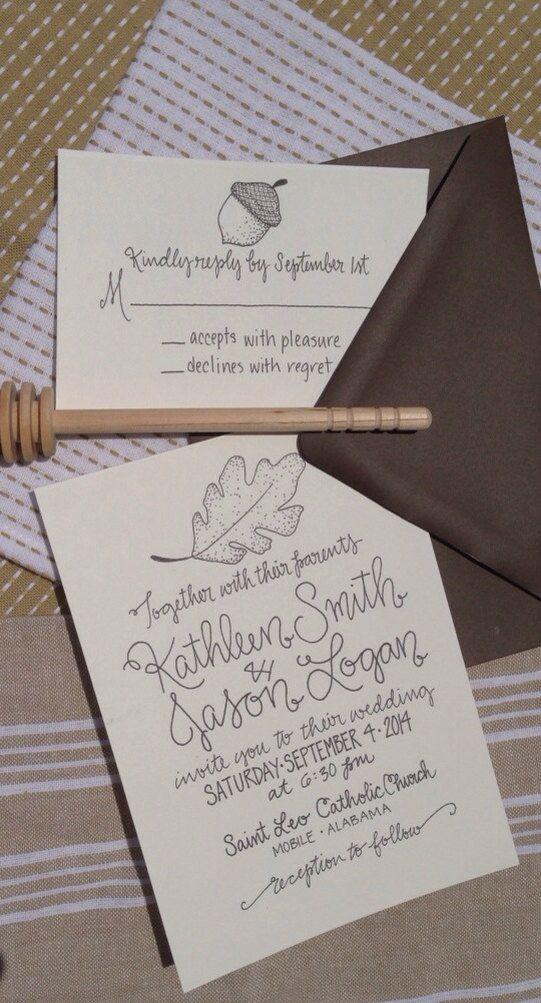 Oak Tree Leaf and Acorn Wedding Invitation