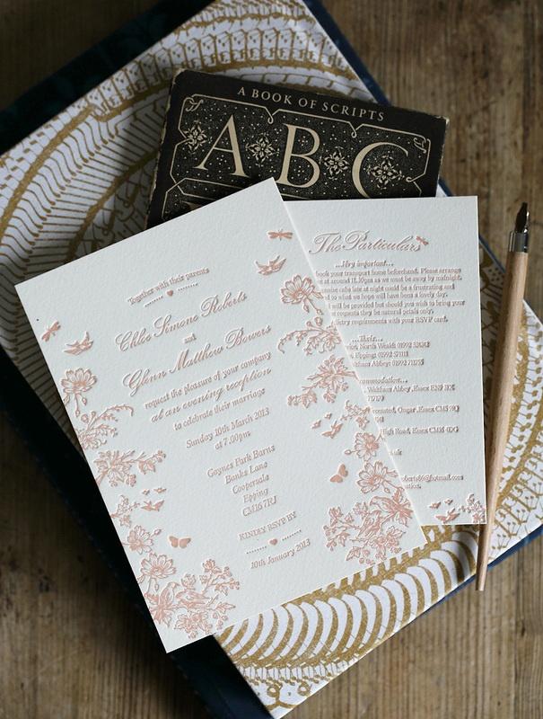Rose pink letterpress wedding invitations - Midsummer design